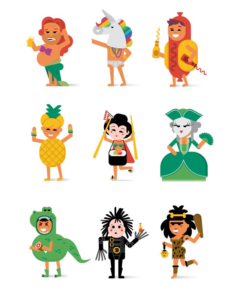 Calendario Carnaval, cartel con diseño de personajes