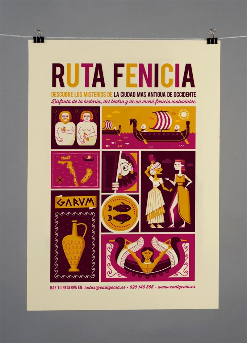 Ilustración de cartelería para Ruta Fenicia en Cádiz