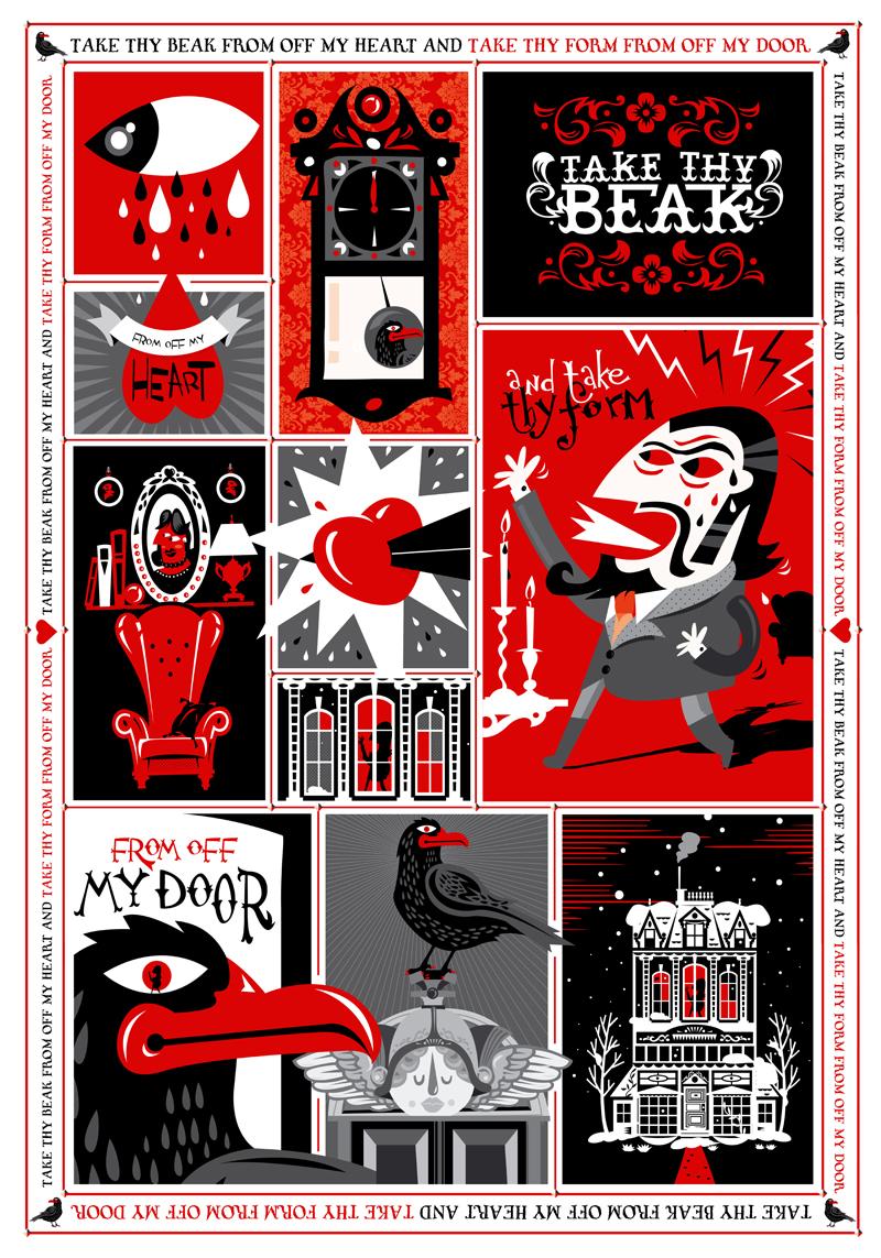 The Raven, Edgar A. Poe - Ilustración para exposición