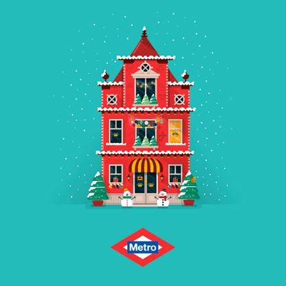 Navidad Metro Madrid, diseño de ilustraciones para campaña