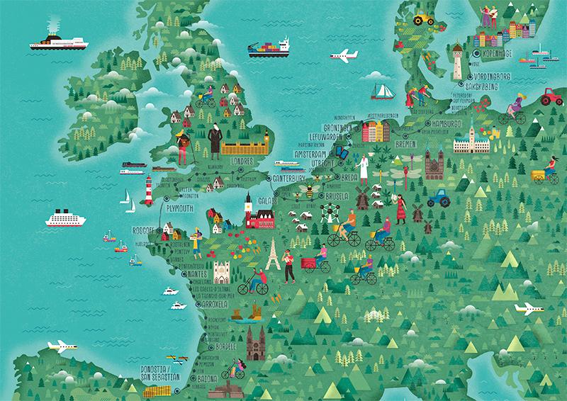 Mapas Europa Biziz, ilustraciones de rutas en bicicleta - Rebombo Estudio