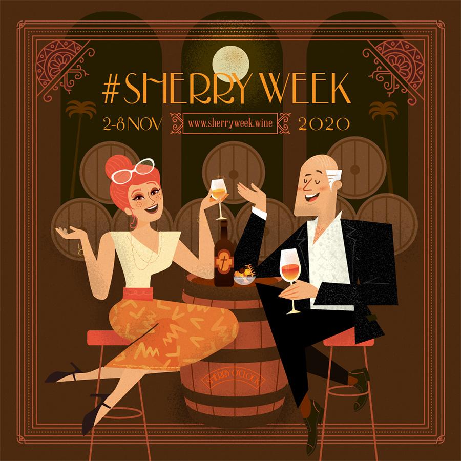 Ilustración para redes Sherry Week 2020