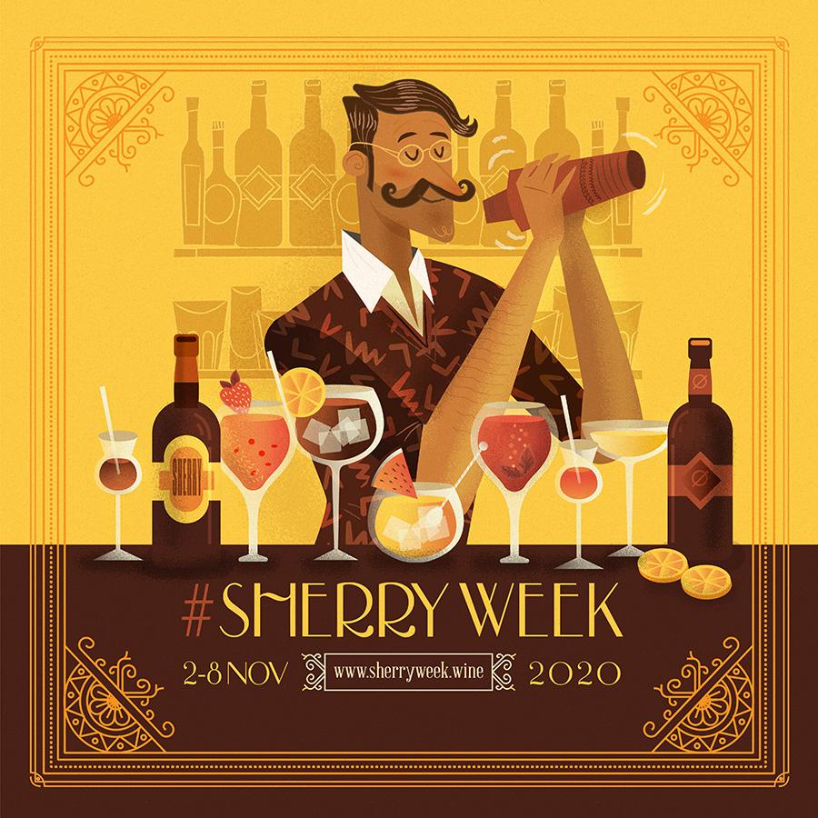 ilustración y diseños para la Sherry Week 2020