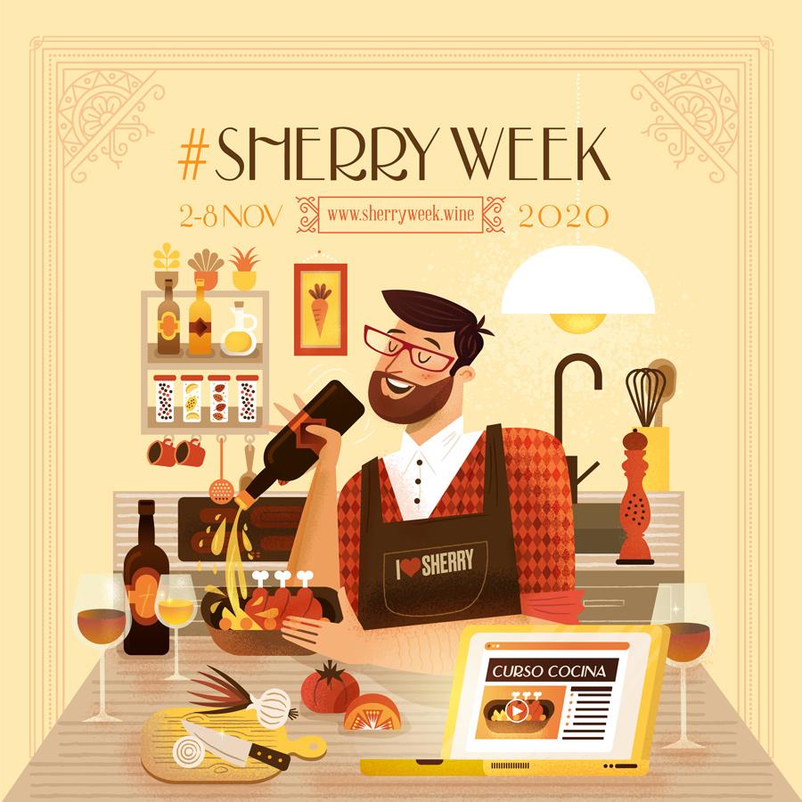 Diseño ilustración Curso Cocina Sherry Week