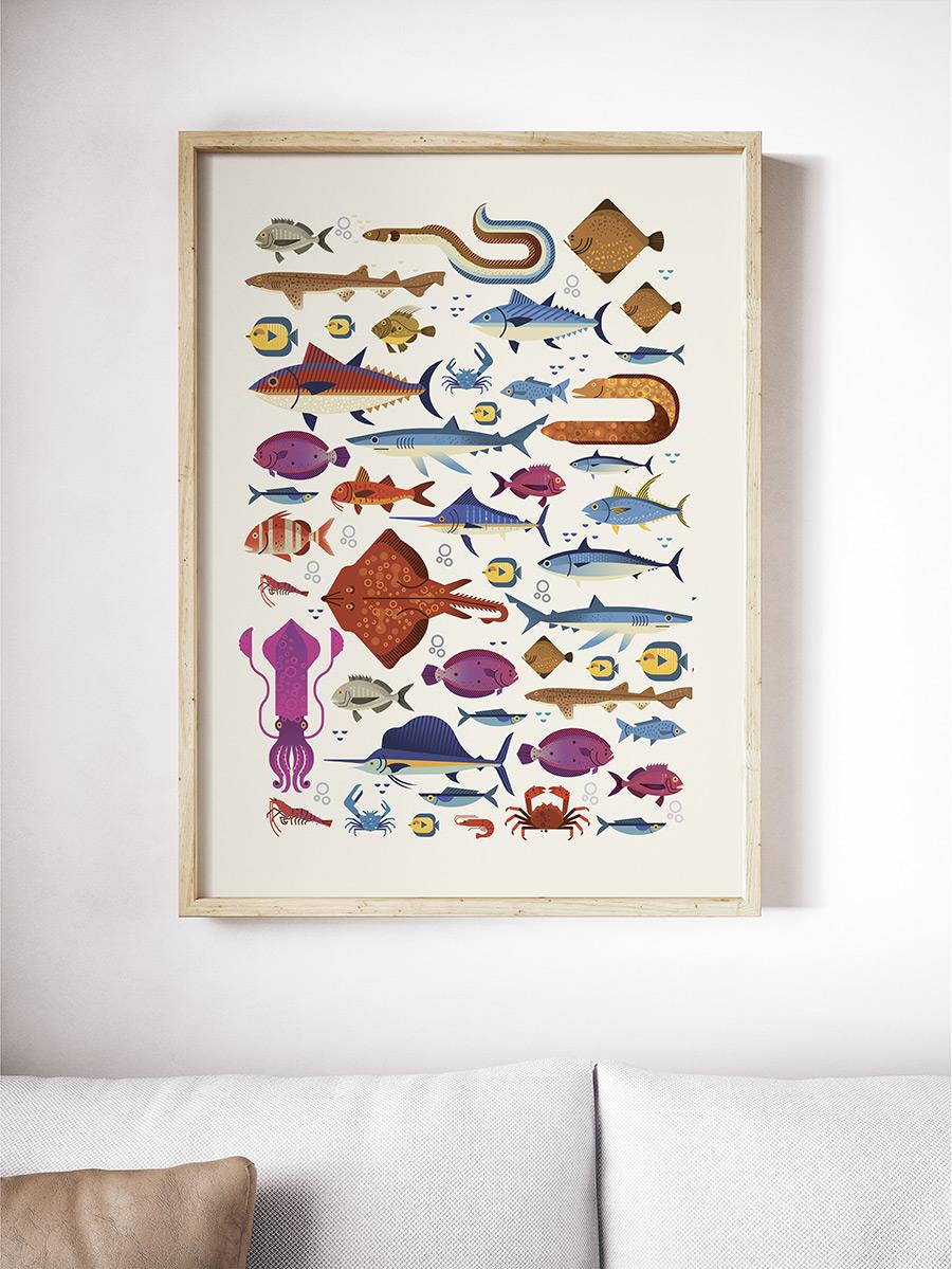 Cuadro decorativo con ilustraación de peces